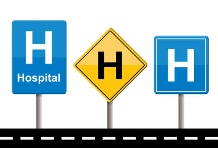 A set of hospital signs on white background.