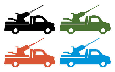 Abstract truck with heavy gun silhouette set.