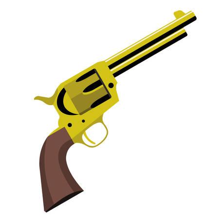 An old golden revolver pistol on white background.