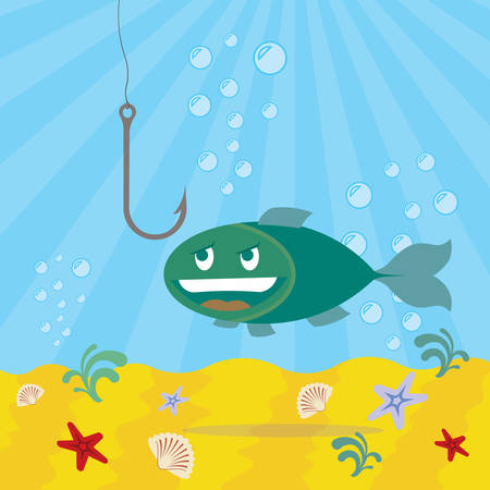 A fish looking on a fishhook on blue background. Illustration