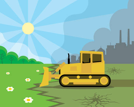 A beautiful nature next to polluted city with yellow bulldozer. Illustration
