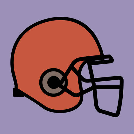A football helmet in red color with violet background.