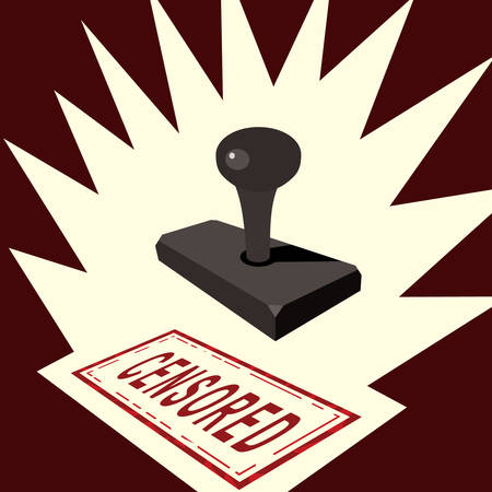 A censored rubber stamp cartoon concept vector illustration.