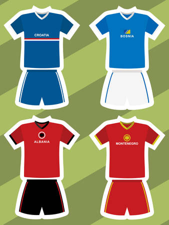 A set of abstract football jerseys on green background. Illustration