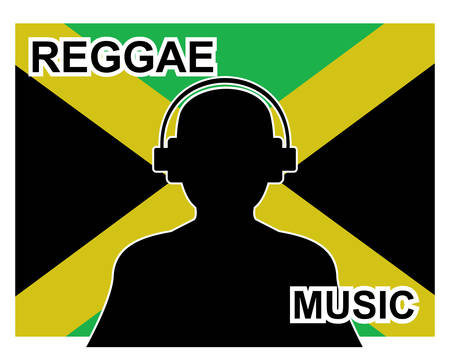 A reggae music concept with a silhouette of a man with headphones and Jamaican flag in background. Illustration