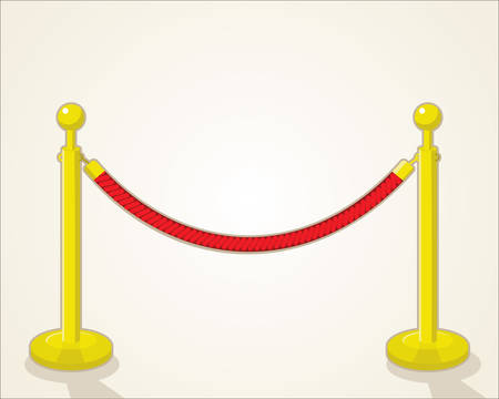 A velvet rope on white background.
