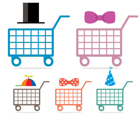 A shopping cart, family shopping concept on white background.