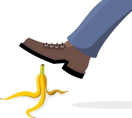 Man stepped on banana peel.
