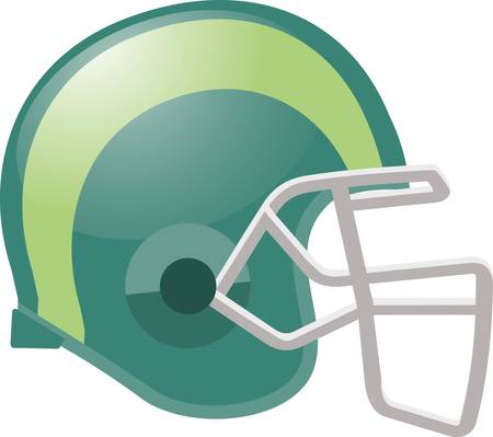 Football helmet in green color with yellow stripe.
