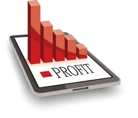 利益減少の概念、チャートグラフ付きタブレット、赤いバー  イラスト・ベクター素材