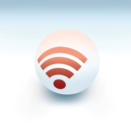 白いボールのワイヤレスシンボル、ベクトルのような3d