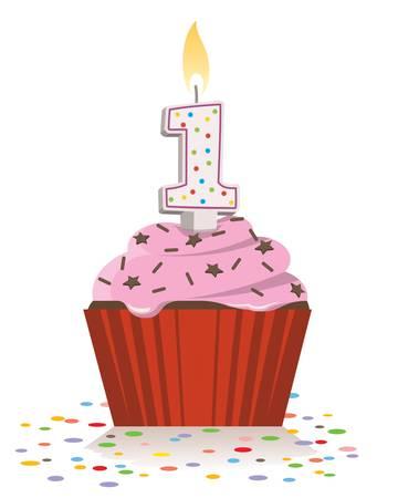 ナンバーワンの形のキャンドルを点灯して最初の誕生日ケーキ。  イラスト・ベクター素材