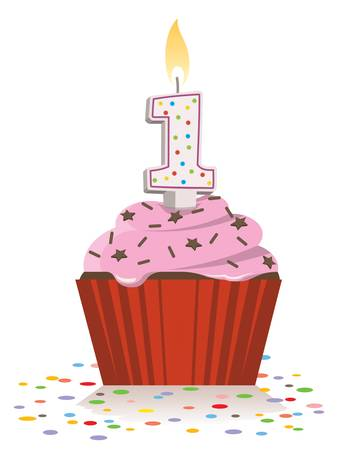 First birthday cupcake with lit candle in shape of number one.