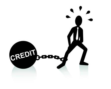 credit burden concept, man dragging chains and big ball