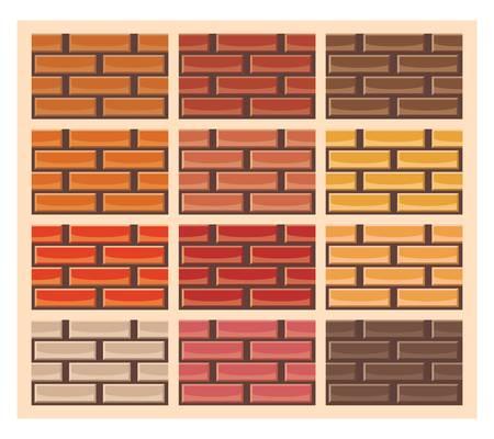 異なる色、シームレスなパターンでレンガの壁のテクスチャのセット  イラスト・ベクター素材