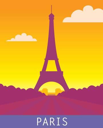 パリ エッフェル塔、日没の風景です。