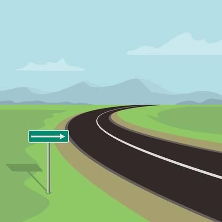 山々のある緑の風景の右カーブ道路と右折道路標識  イラスト・ベクター素材