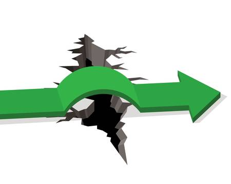 緑の矢印通過障害物、地面に大きな亀裂