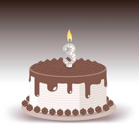 ライトキャンドルナンバー3のバースデーケーキ  イラスト・ベクター素材