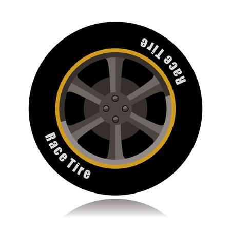 ●スポーツカーホイール、レースタイヤベクトルイラスト。