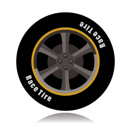 sports car wheel, race tire Vector illustration.