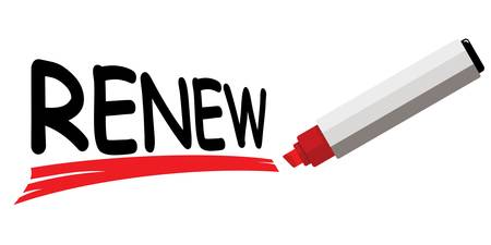 Red marker underlining word renew