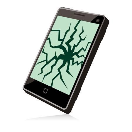 スマートフォンが壊れ、画面にひびが入った  イラスト・ベクター素材