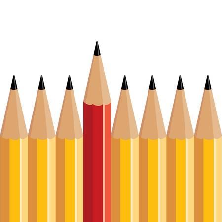 いくつかの黄色の鉛筆赤鉛筆を立てる