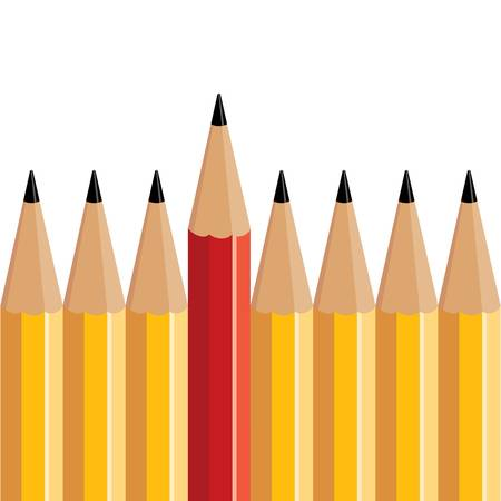 red pencil stands out of several yellow pencils Illustration