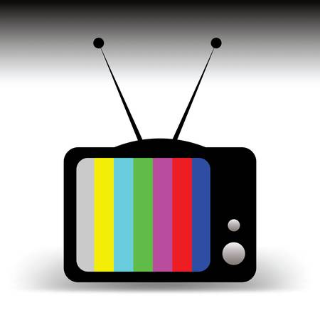アンテナ漫画のコンセプトを持つ古いテレビ、信号なし