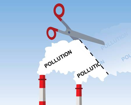 industrial chimney smoke, cutting pollution concept