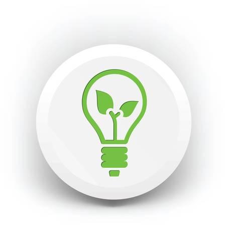 バッジに緑色のエコ電球、エコロジーコンセプト