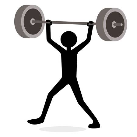 Man lifting weights, funny cartoon concept