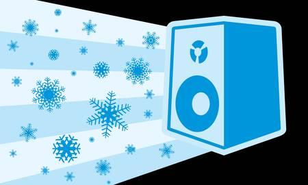 雪の結晶を持つ冬のスピーカー  イラスト・ベクター素材