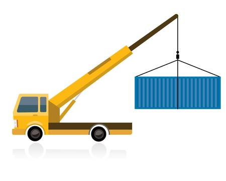 crane truck with container Illustration