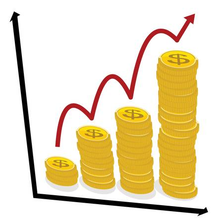 business growth concept, chart graph with coins red arrow pointing up