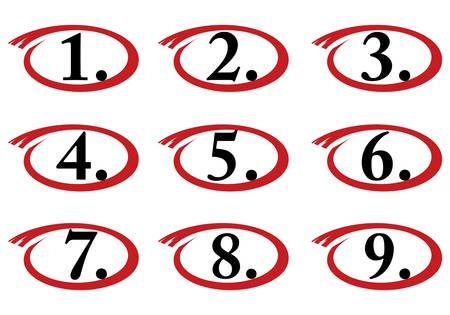 circled numbers, one to nine Illustration