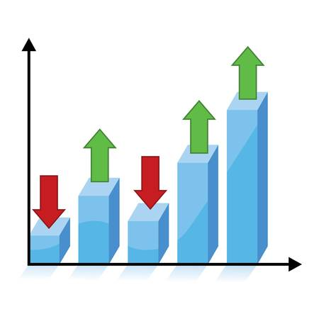 business growth concept, 3d chart graph with red and green arrows