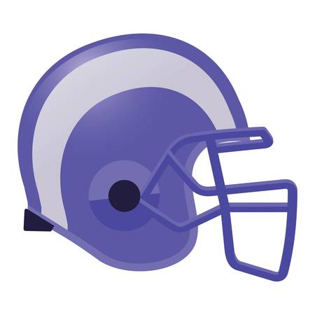 football helmet in violet color with white stripe