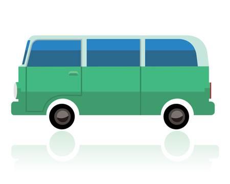緑のサーフバン、面白い漫画スタイルベクトルイラスト。  イラスト・ベクター素材