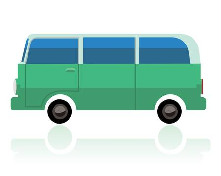 green surf van, funny cartoon style Vector illustration.