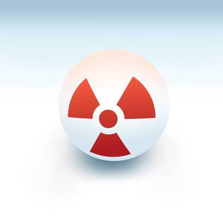 radiation sign on white ball, 3d like vector