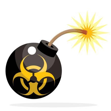 biohazard bomb activated, cartoon funny style Illustration