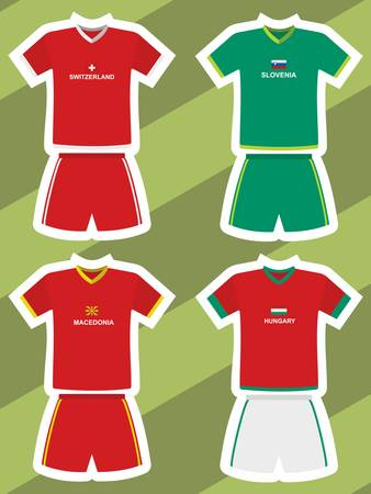 set of abstract football jerseys, switzerland, slovenia, macedonia and hungary Illustration
