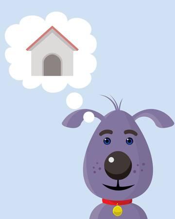 dog thinking about doghouse, cartoon like illustration