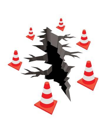 交通コーンで地面の亀裂
