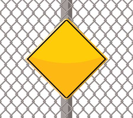 blank warning sign on wire fence Vector illustration. Ilustração