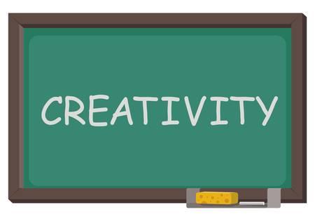 単語創造性ベクトルイラストと黒板。  イラスト・ベクター素材