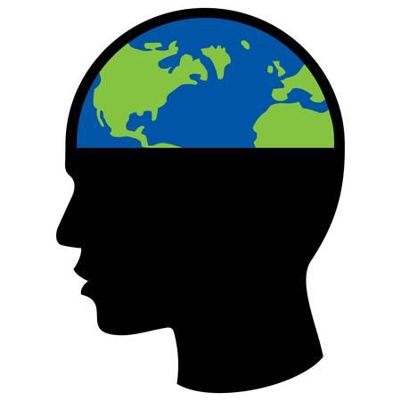 人間の頭の中の惑星地球、政治的概念ベクトルイラスト。
