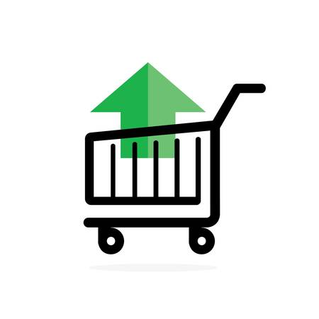 Shopping cart with green arrow Ilustração